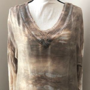 Belle France Size S Taupe Top Tunic New